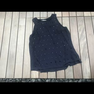 H&M | Sleeveless Navy Blouse